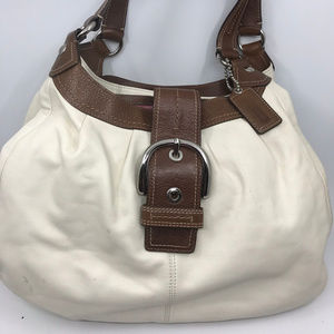 COACH White Brown Leather Edie Shoulder Bag